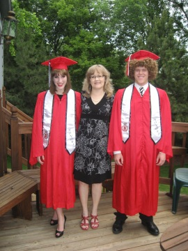 Valerie with her twins on graduation day.