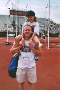 Erin and her dad at the Transplant Games.