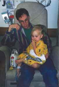 Erin on dialysis with her dad.