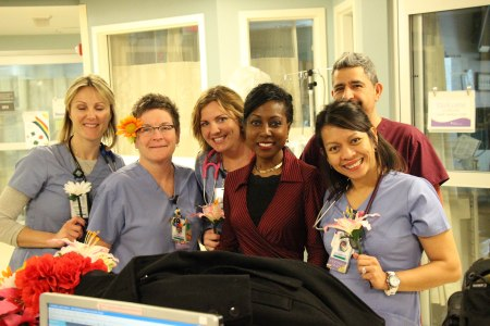 Melody with the Advocate Lutheran General intensive care team that treated her during her wait for a heart transplant.