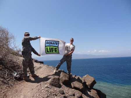 Staff Sgt. Erik Tofte honored his best friend by carrying a Donate Life Flag with him on tours of the Middle East and Africa.